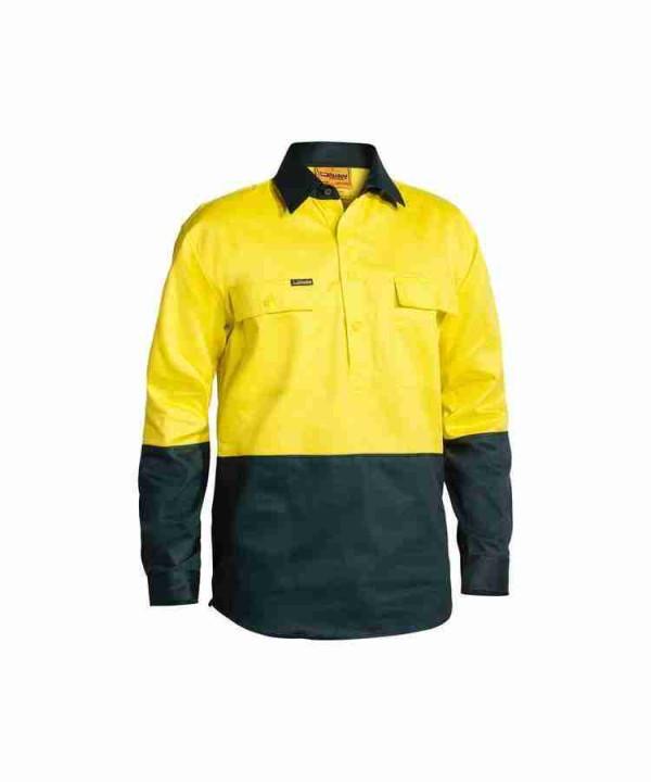 Bisley Closed Front Hi Vis Drill Shirt - BSC6267